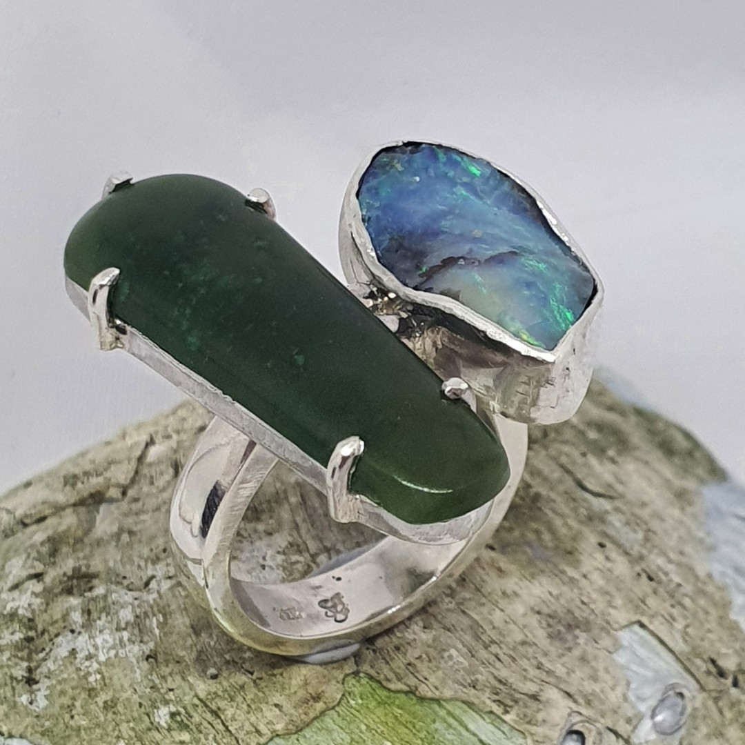 Chunky New Zealand greenstone and Australian boulder opal ring image 1