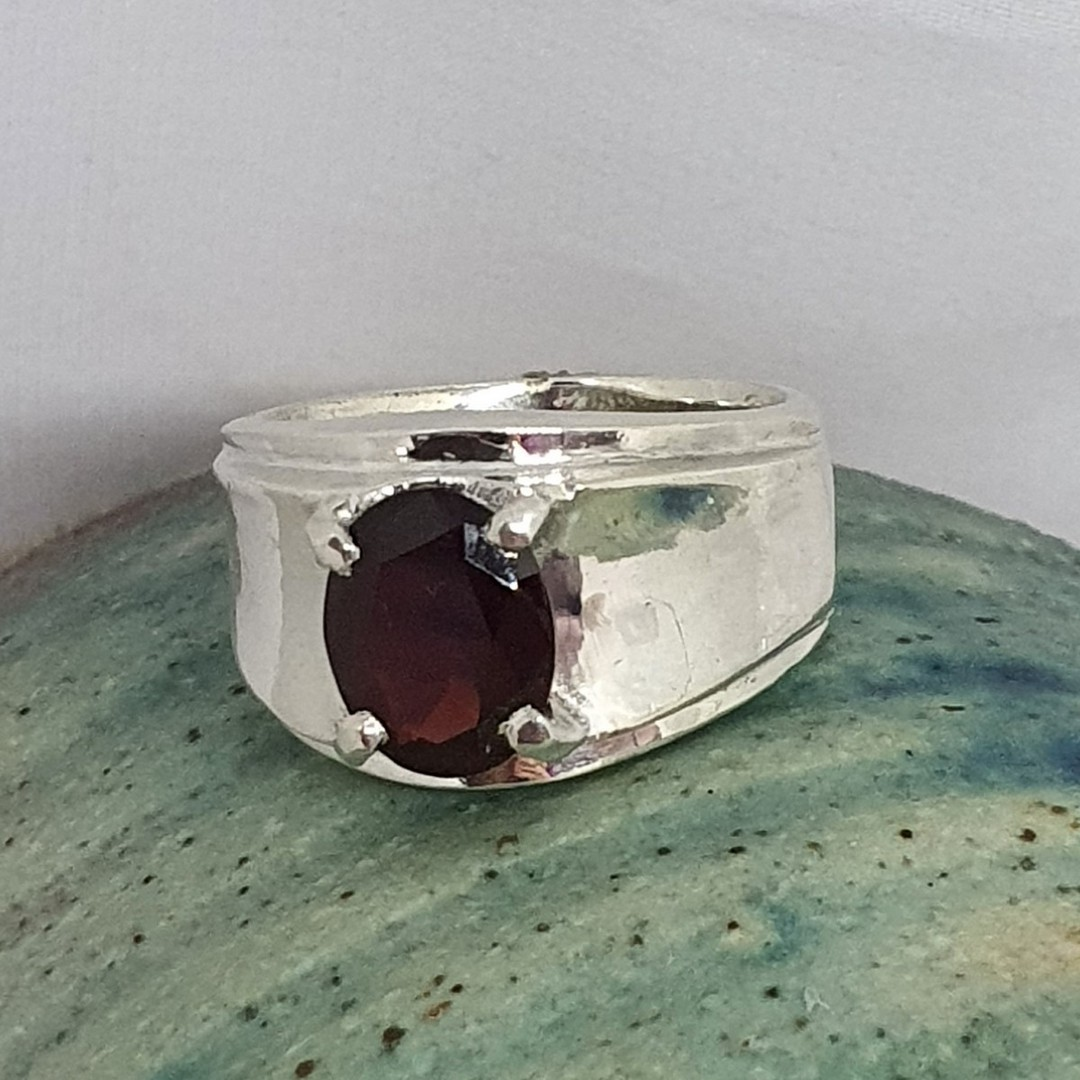 Wide silver band ring with red garnet gemstone image 4