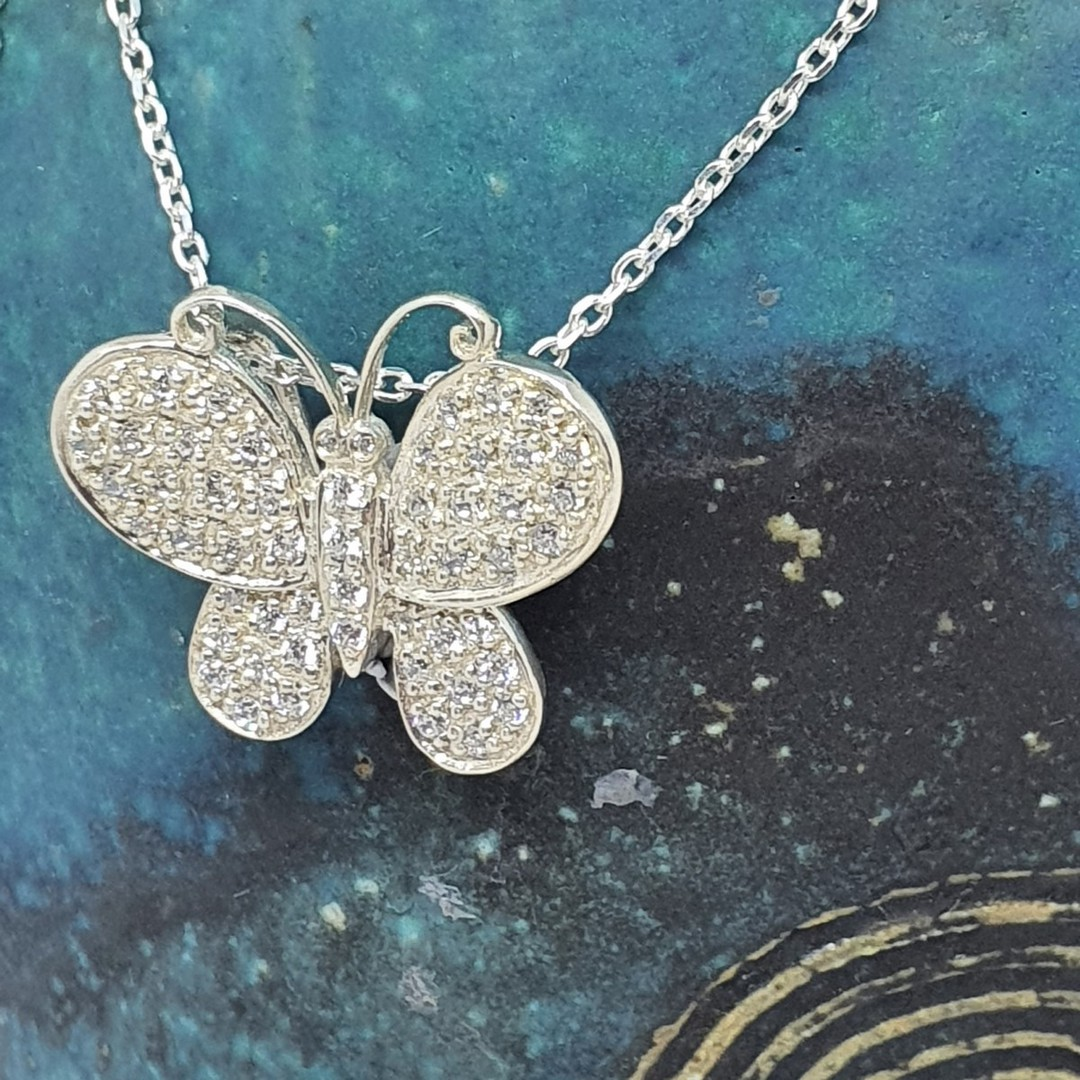 Sterling silver butterfly necklace image 2