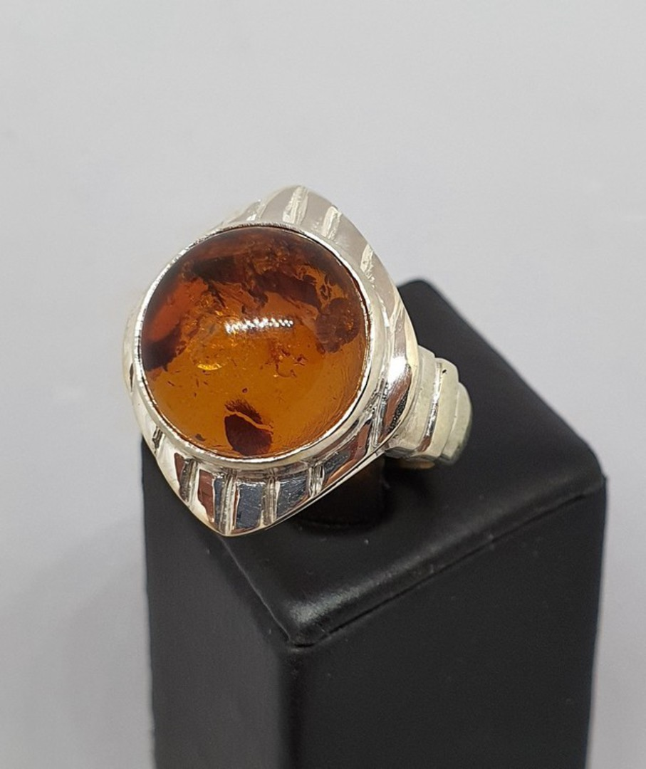 Chunky silver amber ring, made in NZ image 3