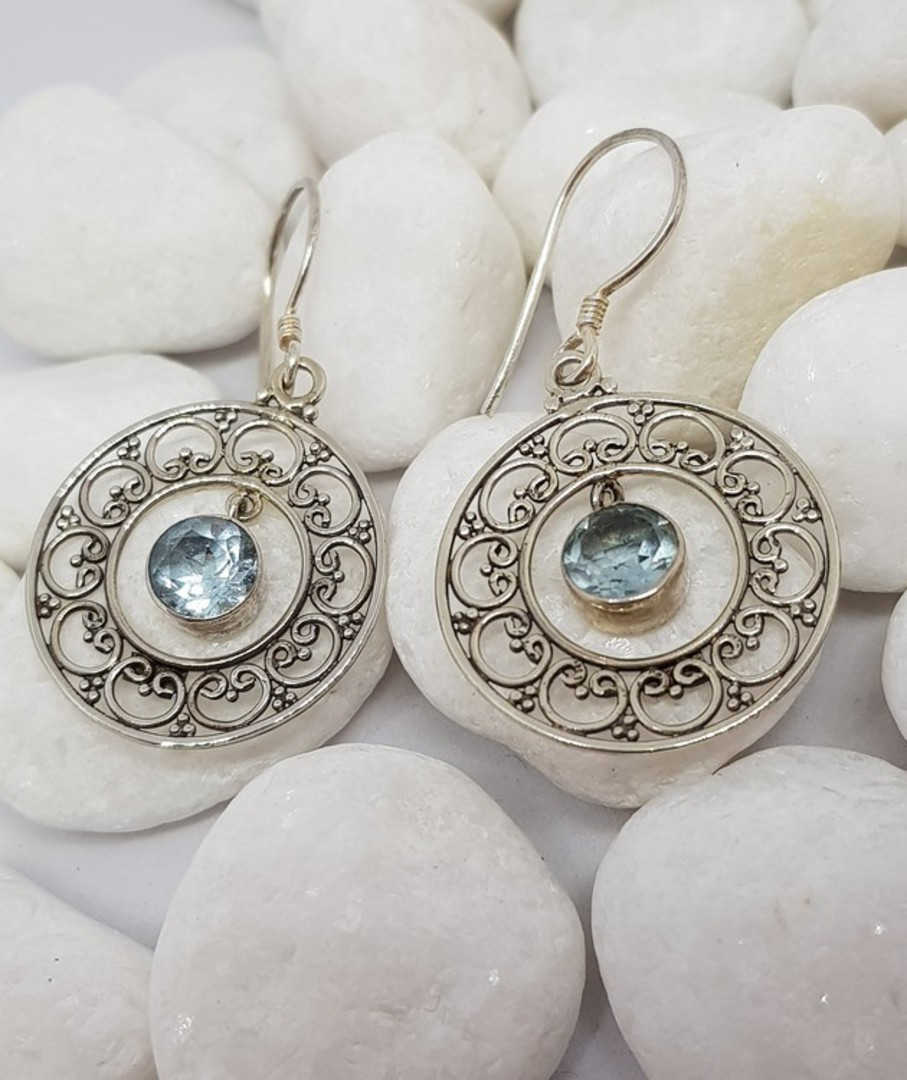 Sterling silver delicate blue topaz earrings image 2