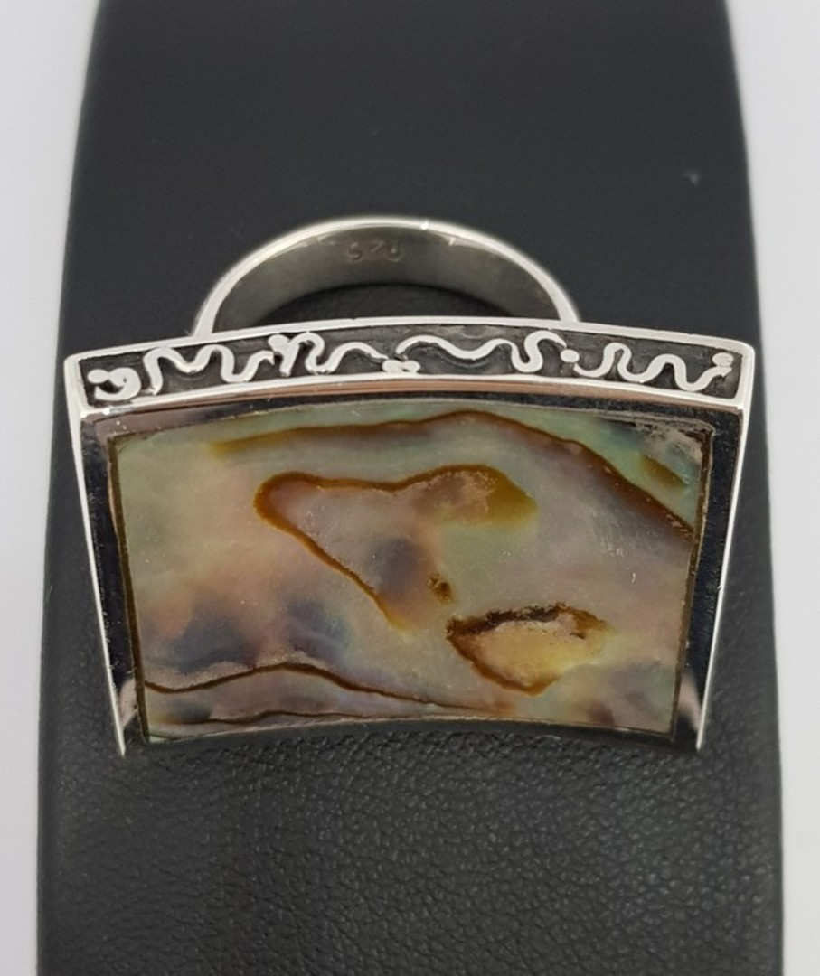 Large designer ring inset with paua shell image 4