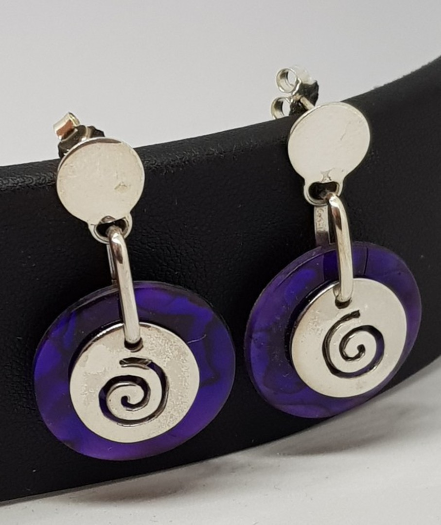 Purple paua shell earrings with koru detail image 1