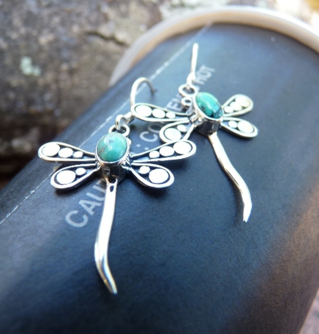 Sterling Silver Turquoise Dragonfly Earrings image 2