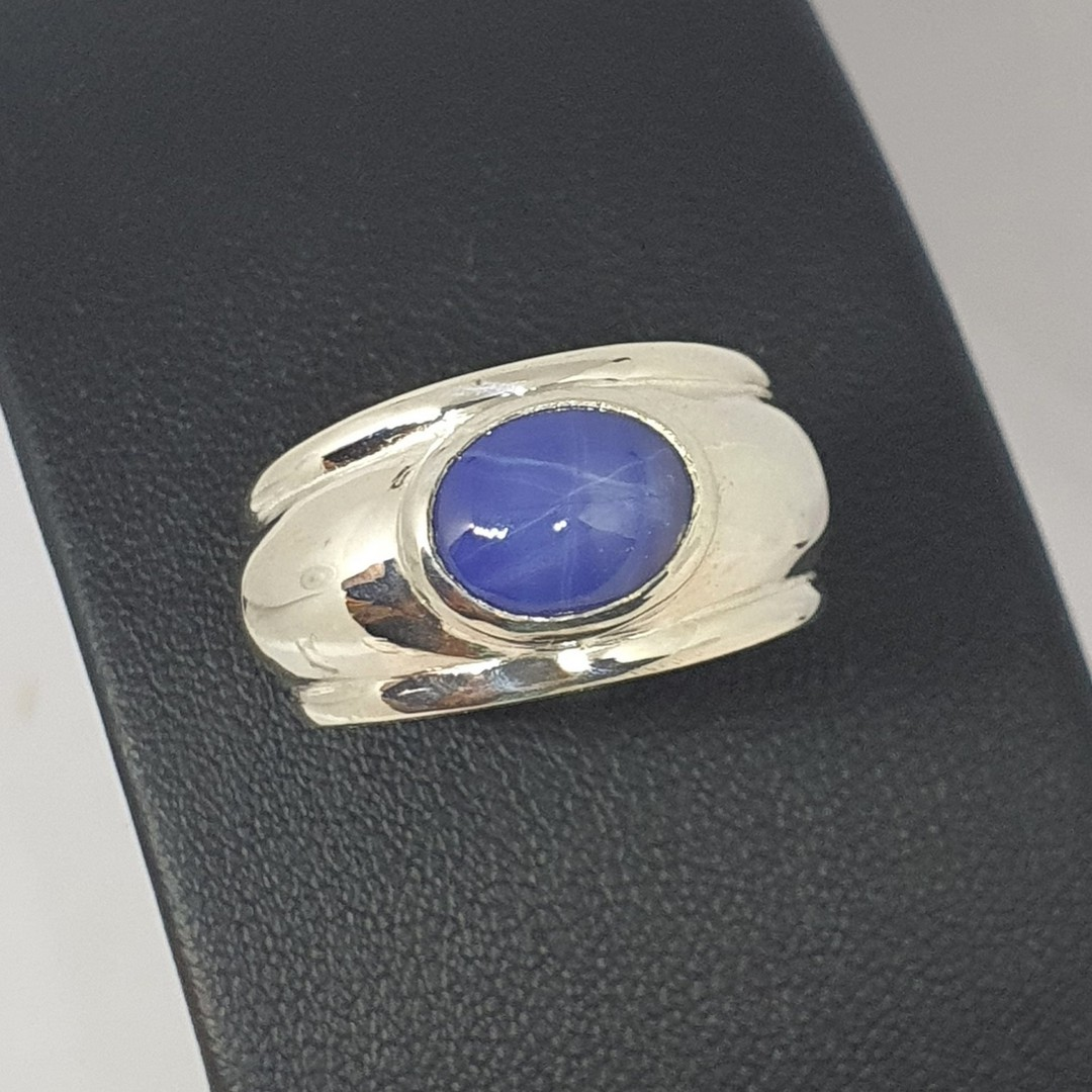 Sterling silver, wide band blue gemstone ring image 2