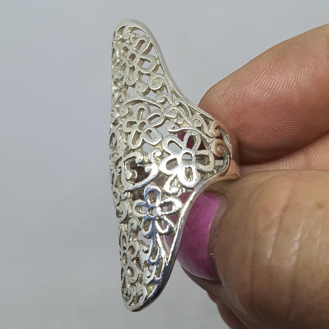Long sterling silver filigree ring image 3