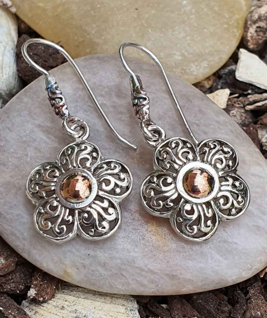 Sterling silver flower earrings image 1