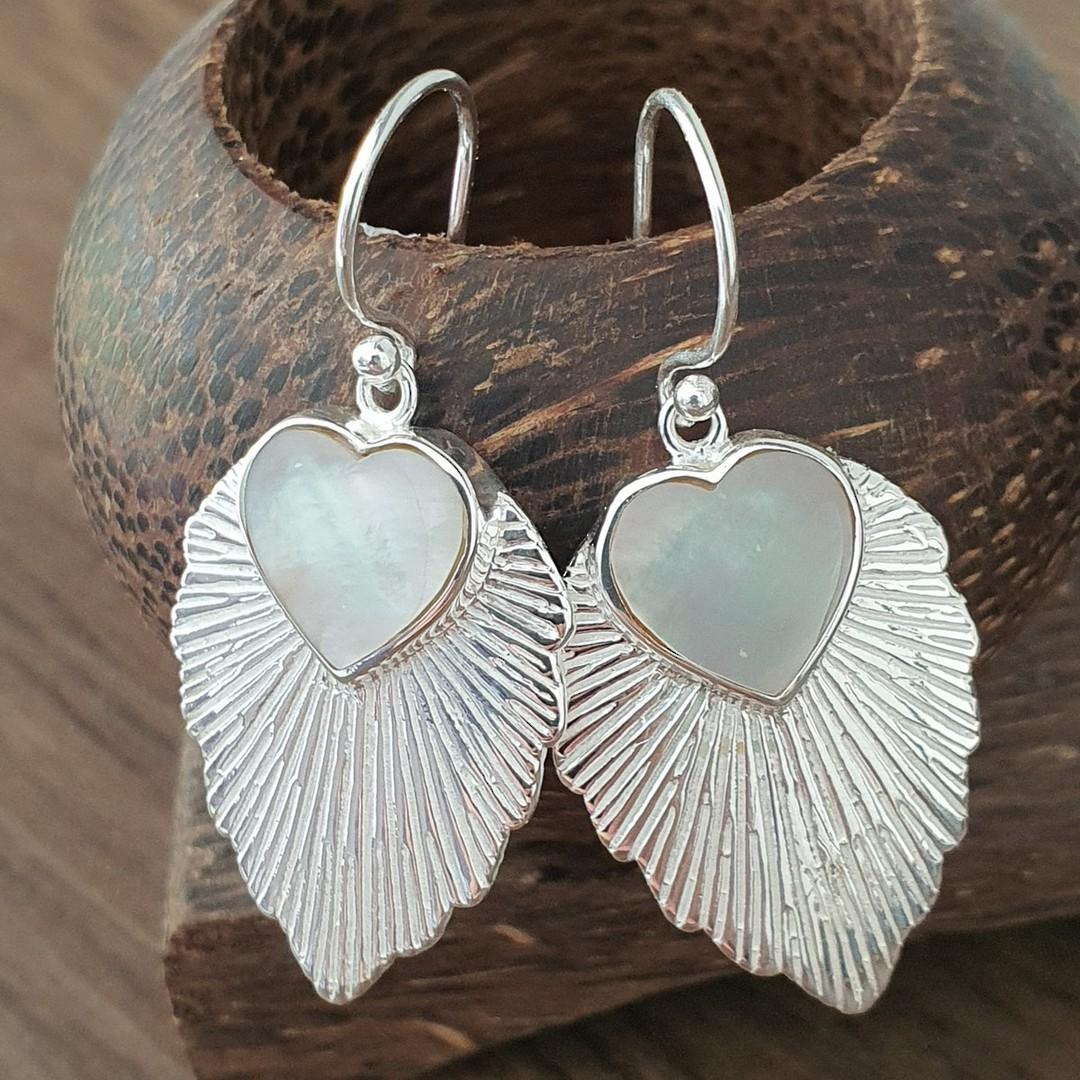 Leaf shape mother of pearl earrings image 1