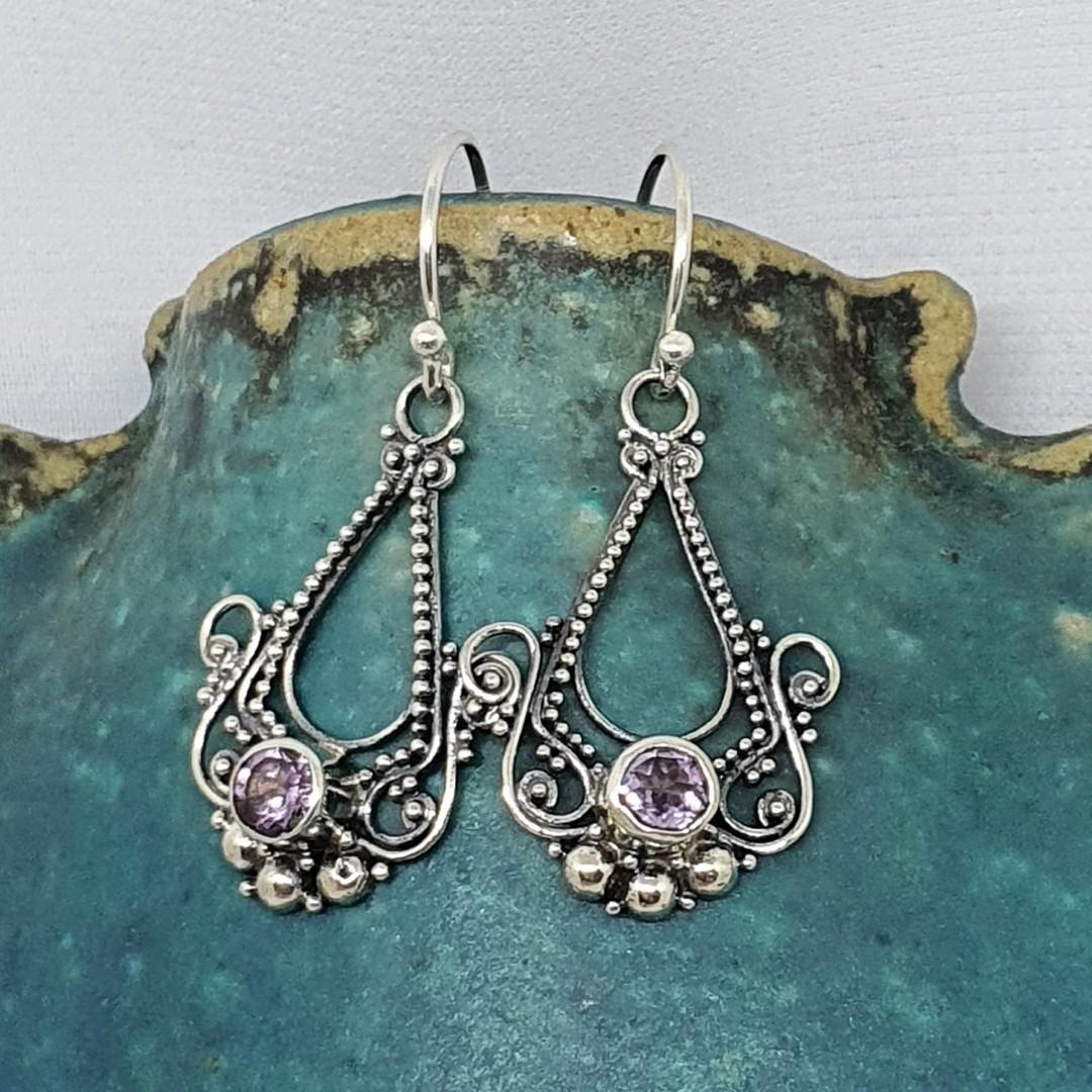 Sterling silver filigree amethyst earrings image 1