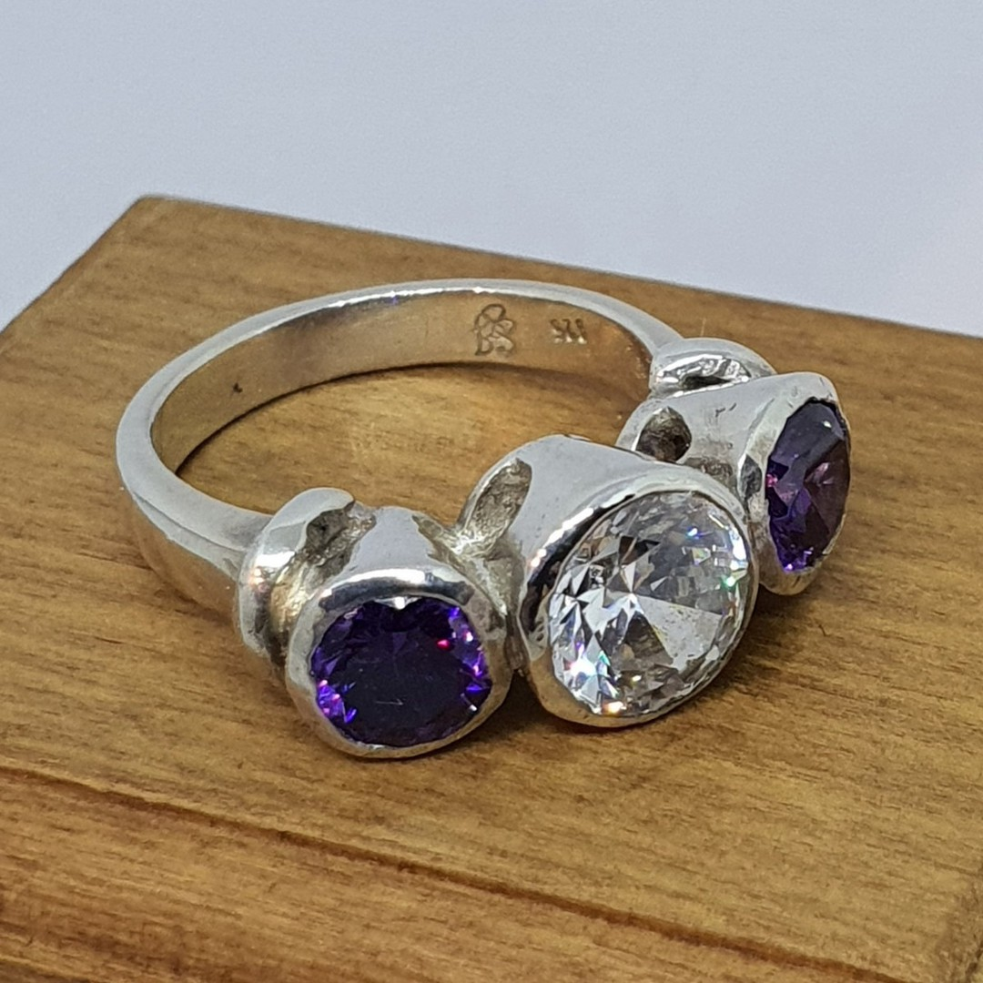 925 silver ring with clear and purple CZ's image 1
