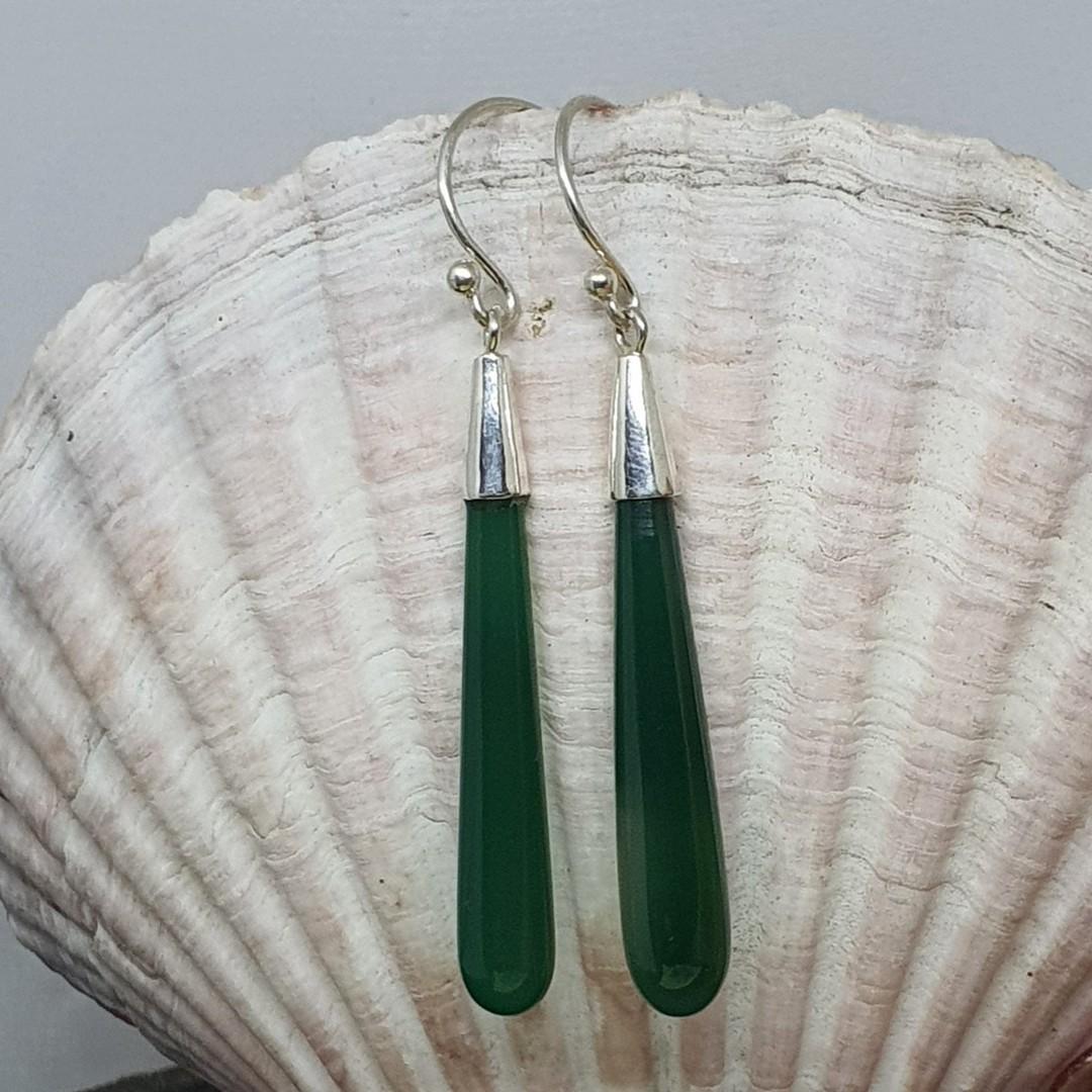 Sterling silver green agate gemstone earrings image 3
