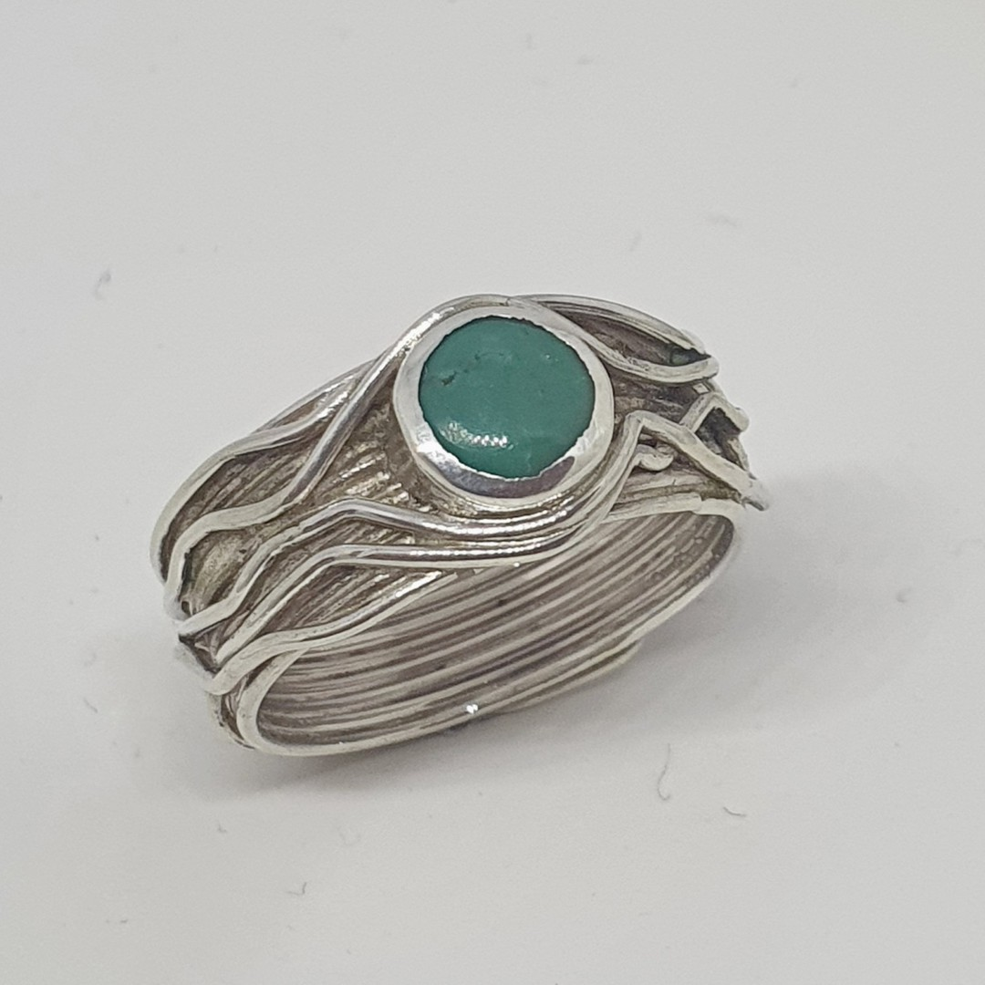 Wide band silver turquoise ring  - December Birthstone image 1