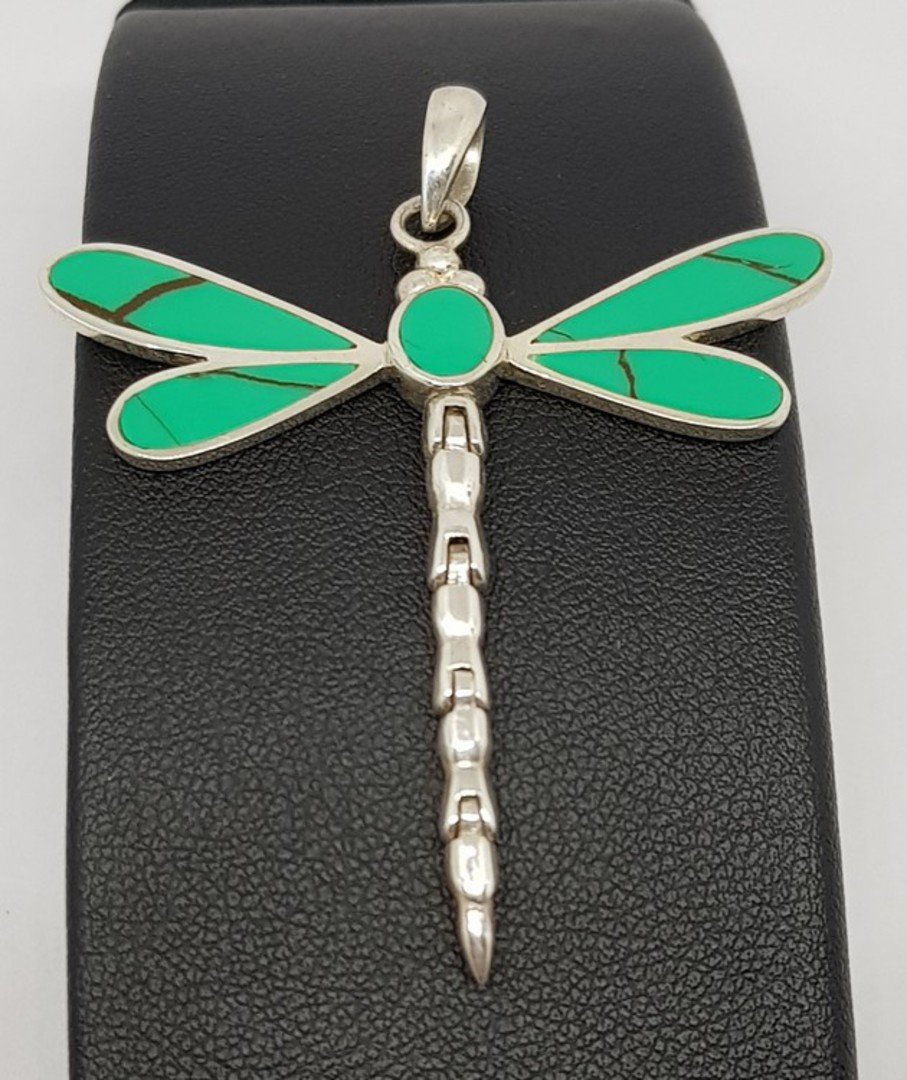 Turquoise coloured dragonfly pendant - sterling silver image 0