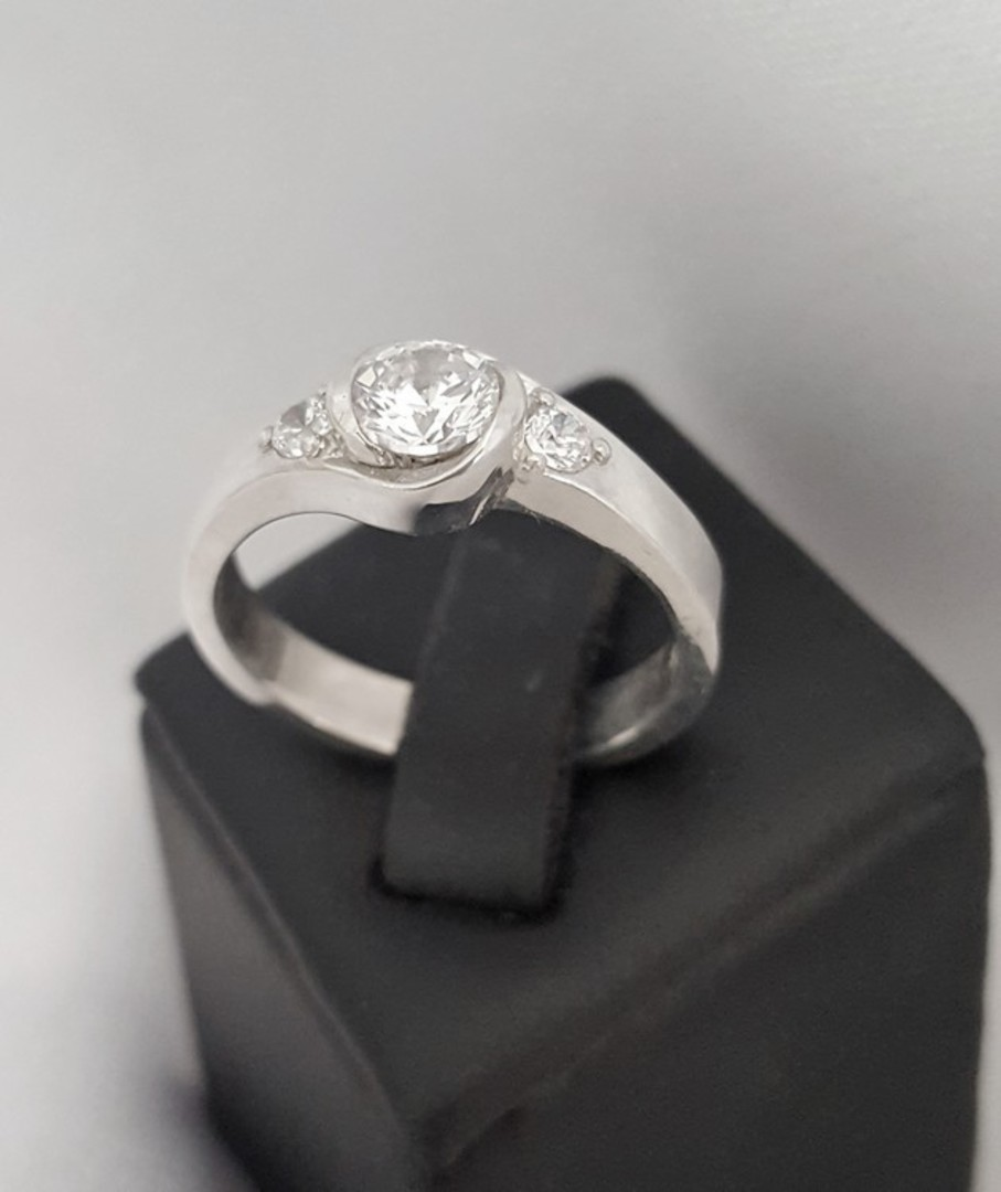 Dainty cz sterling silver ring image 0