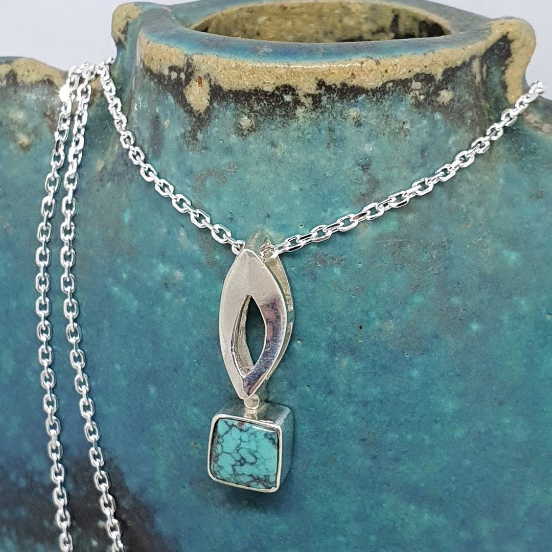 Little turquoise pendant and chain image 0