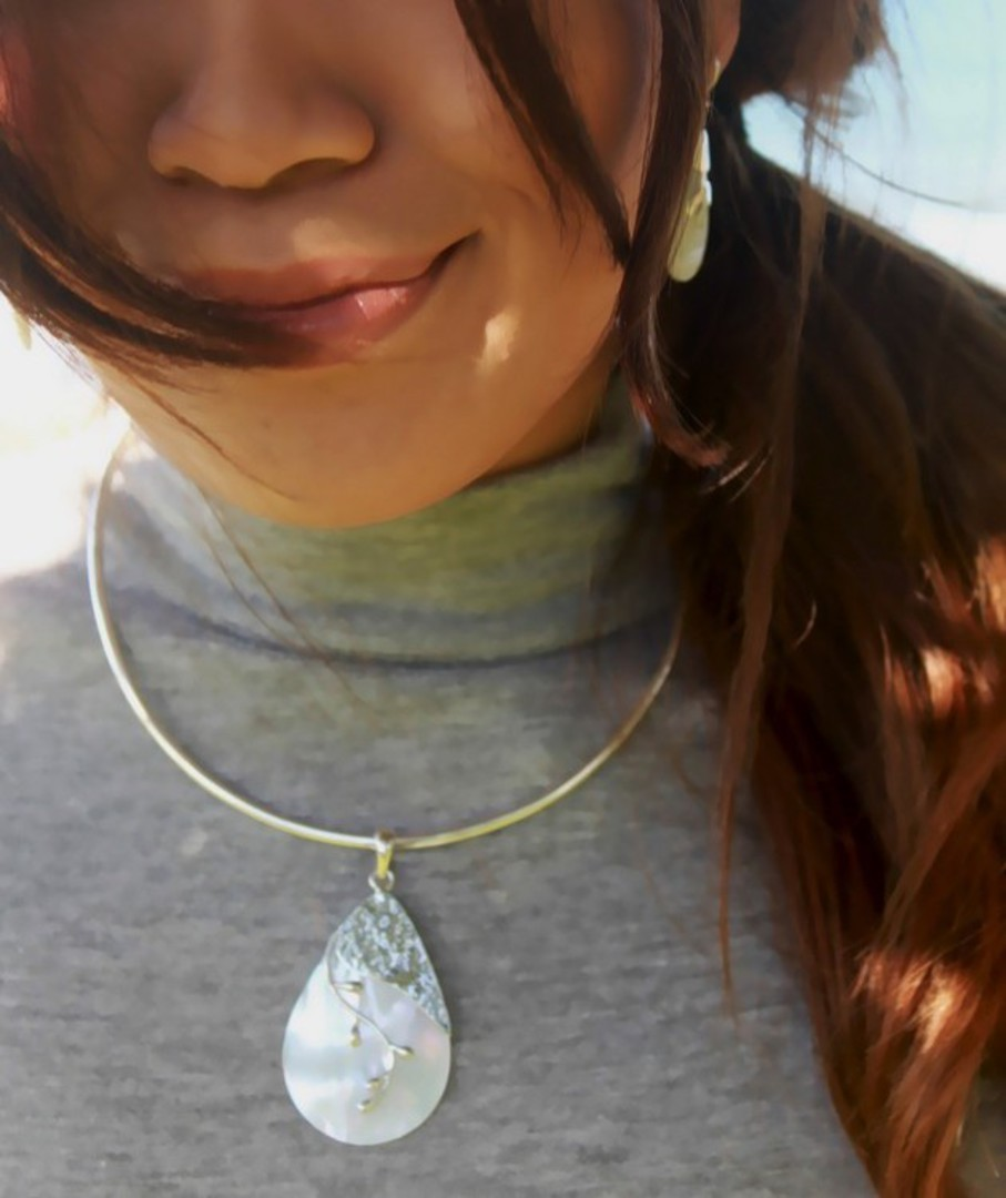 Mother of pearl sterling silver pendant image 1