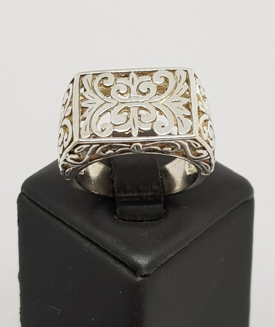 Sterling silver silver filigree lace ring image 2