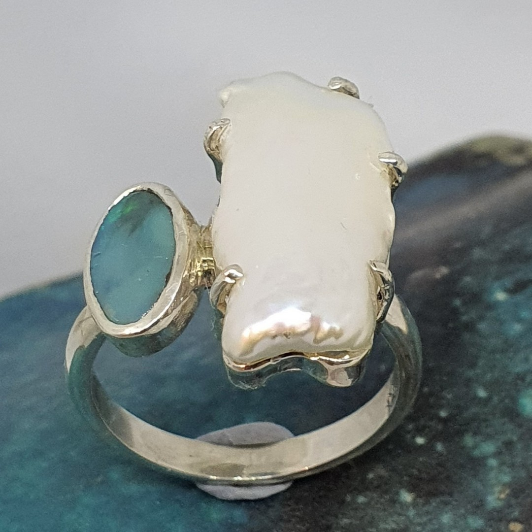 Large fresh water pearl and opal ring image 3