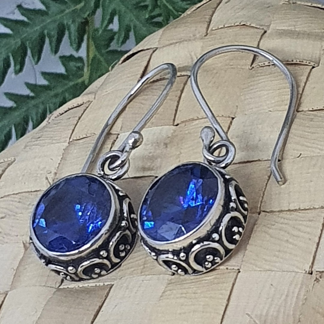 10mm round filigree synthetic sapphire earrings image 2