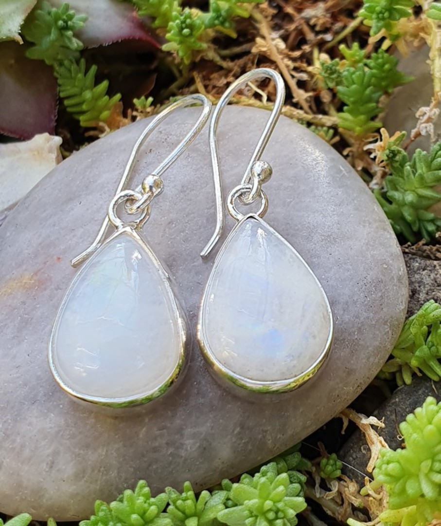 Teardrop moonstone silver earrings, sterling silver image 0
