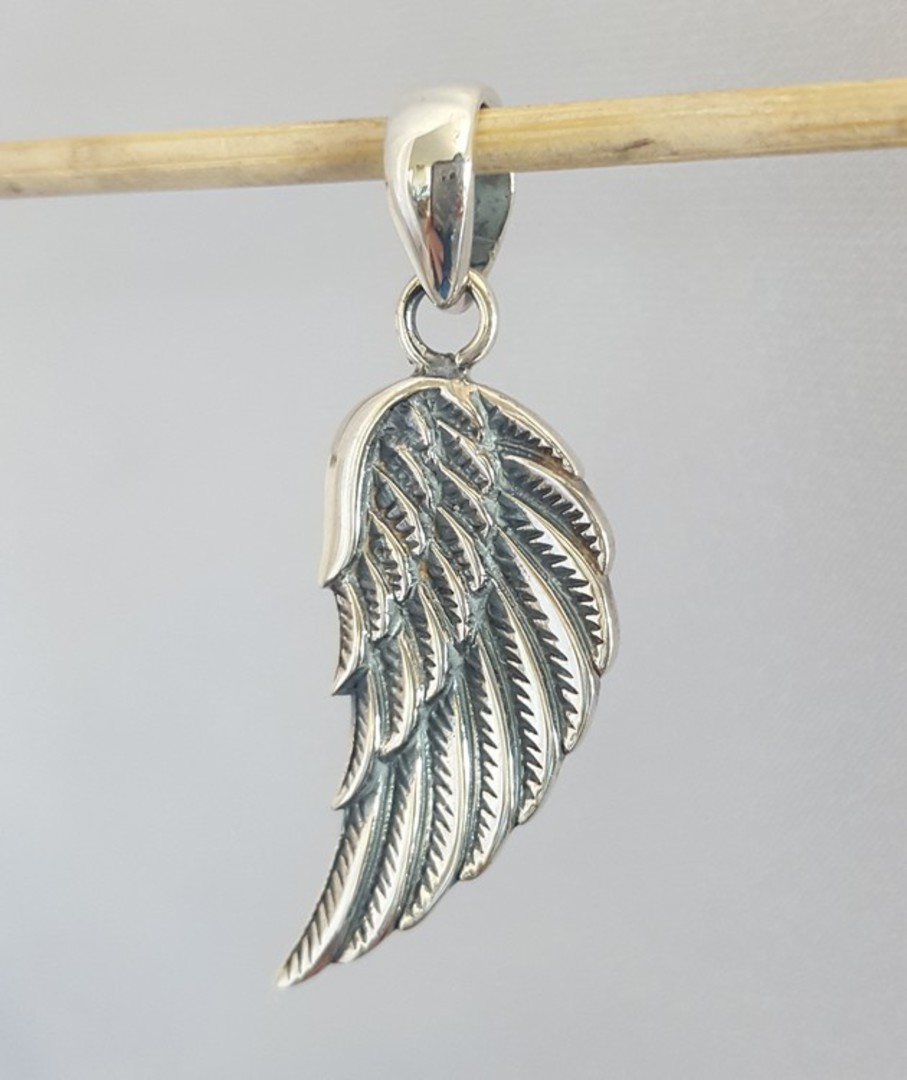 Solid sterling silver angel wing pendant image 0