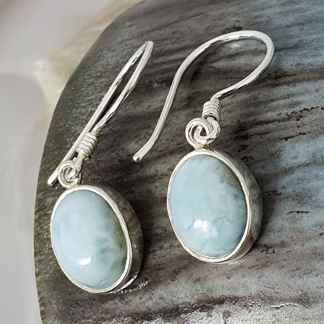Sterling silver oval larimar gemstone earrings image 2