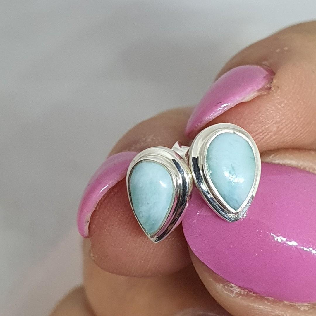 Teardrop larimar gemstone stud earrings image 2