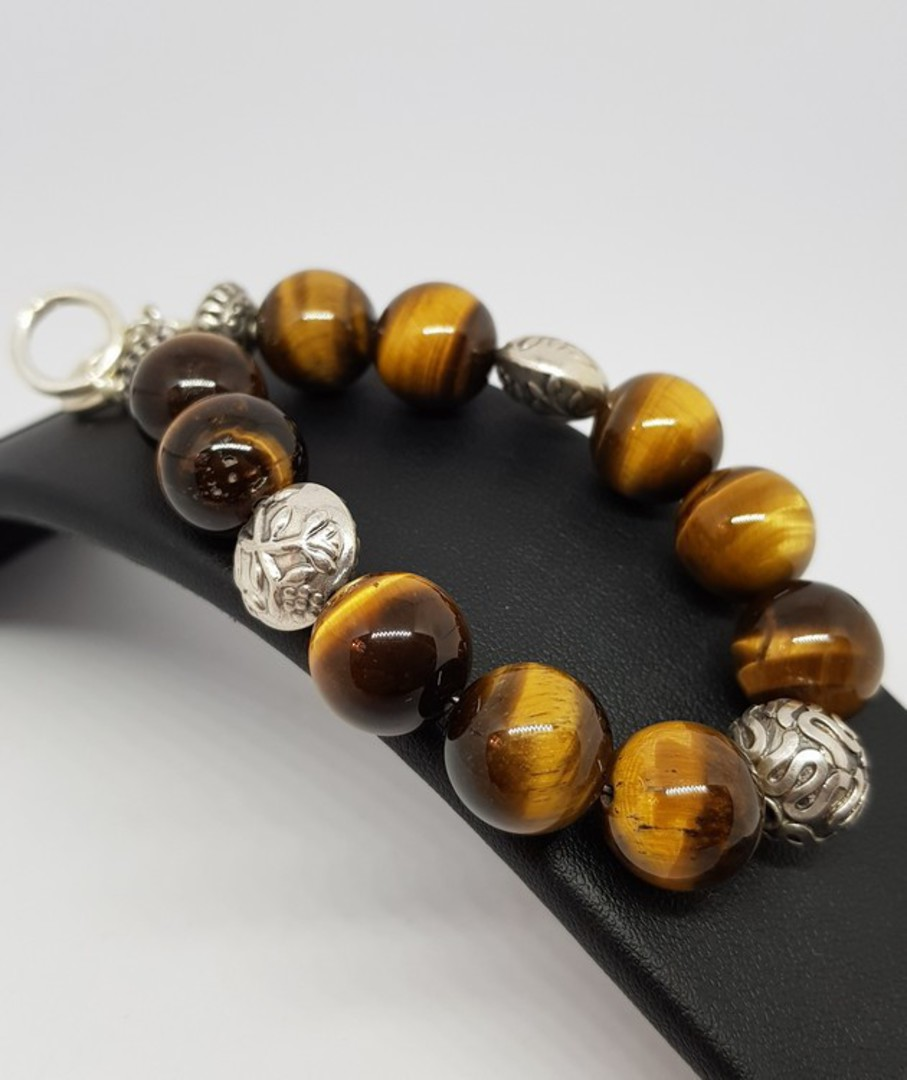 Tigers eye and Balinese silver beaded bracelet image 0