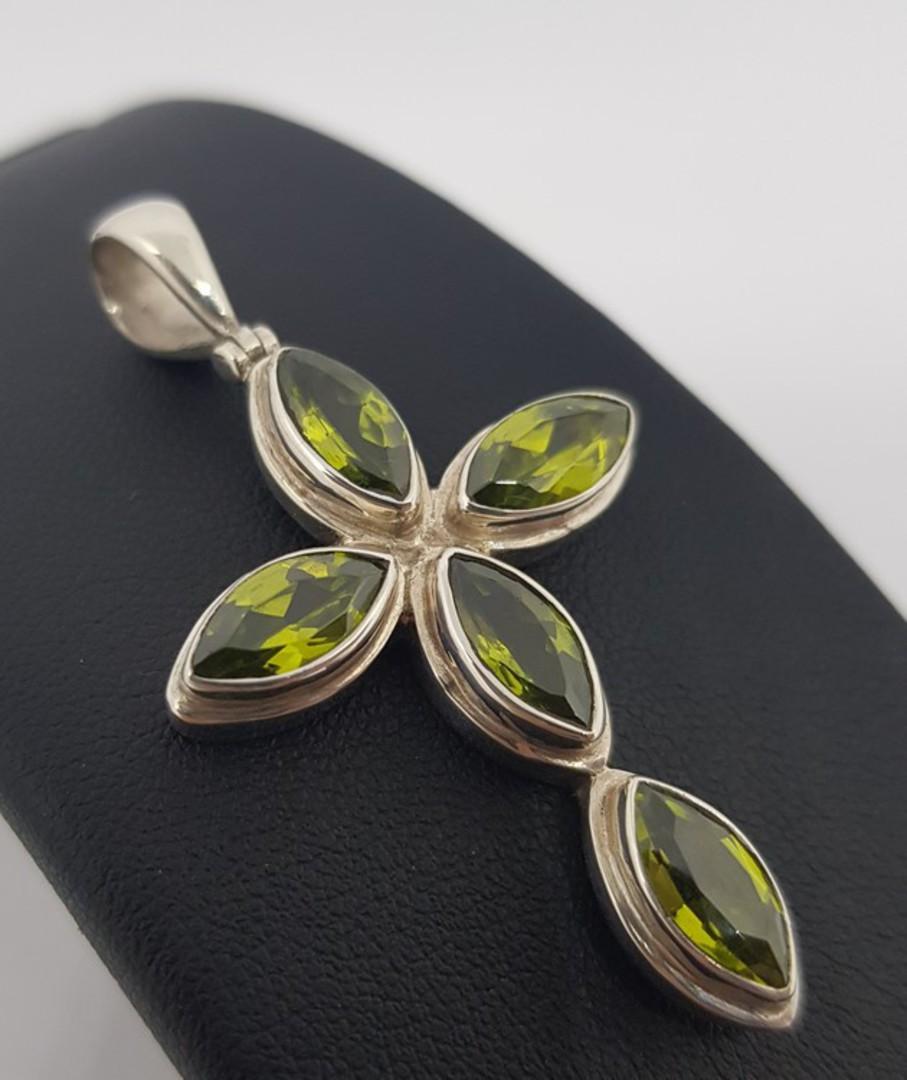 Facet cut green peridot pendant cross image 0