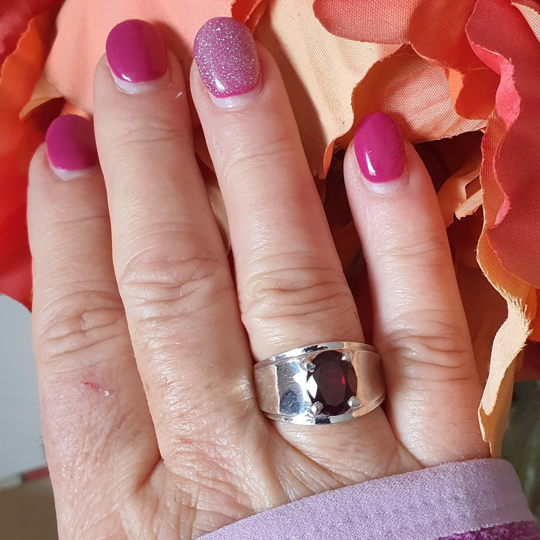 Wide silver band ring with red garnet gemstone image 2
