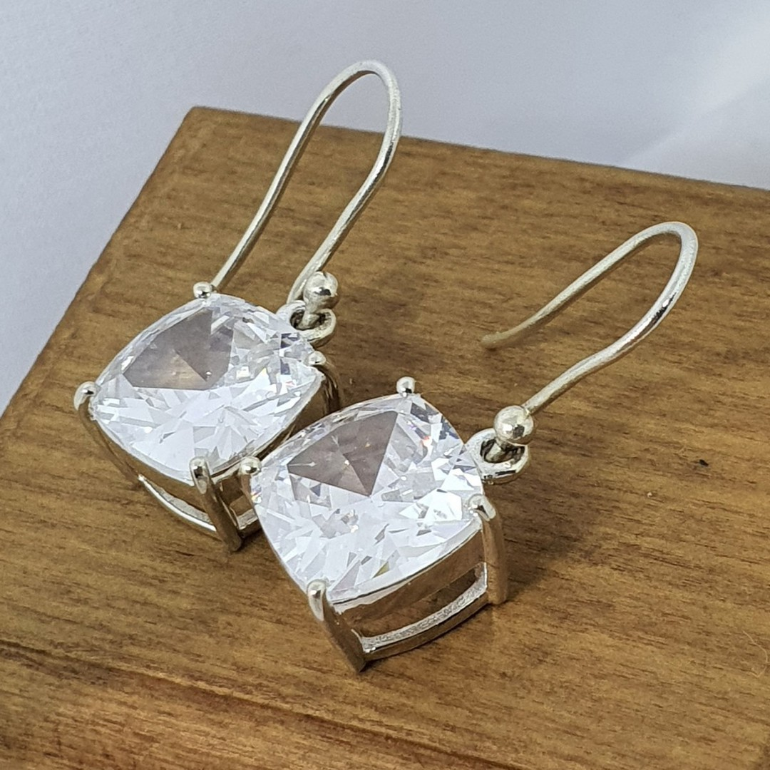 Princess cut cubic zirconia earrings image 2