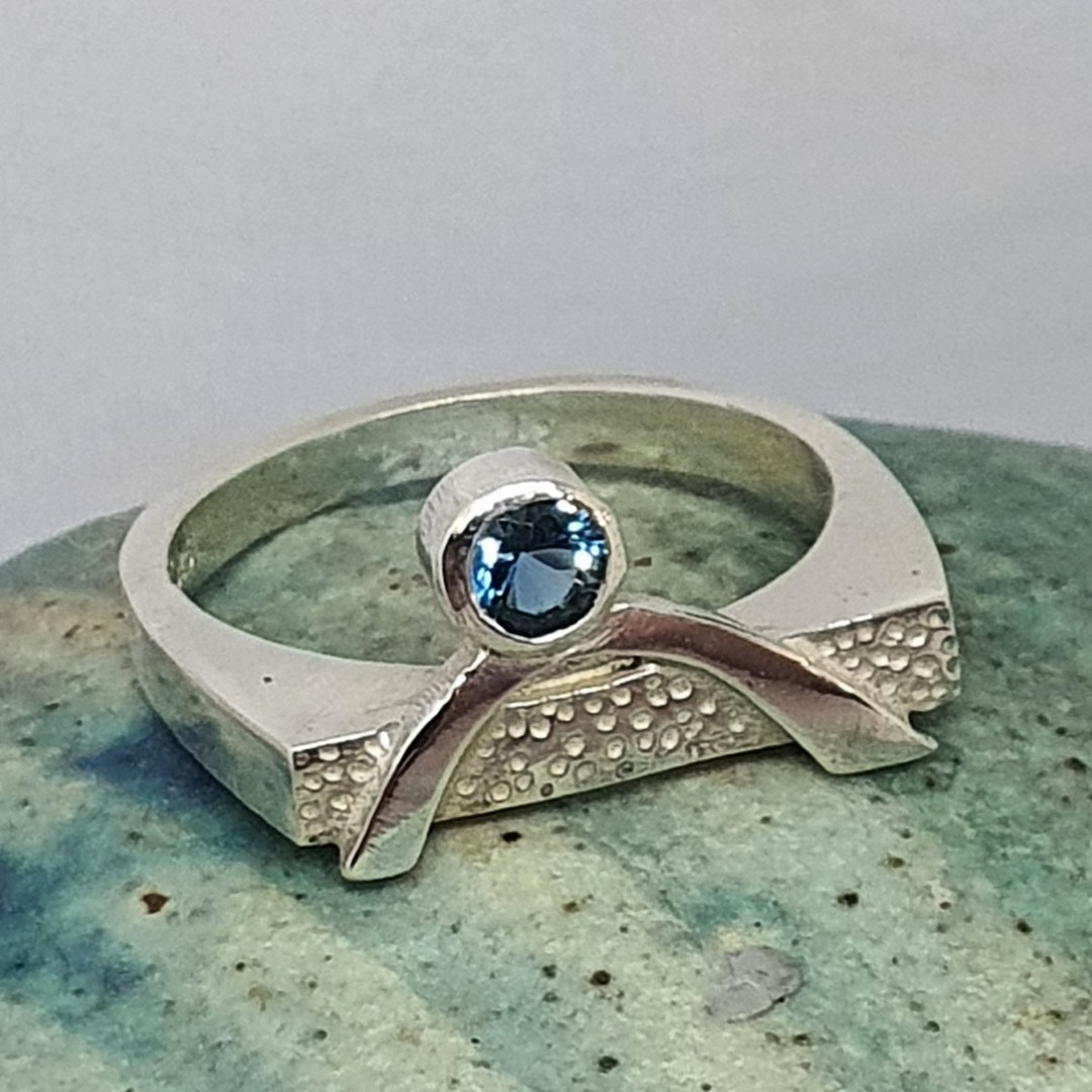 Blue topaz silver ring image 1