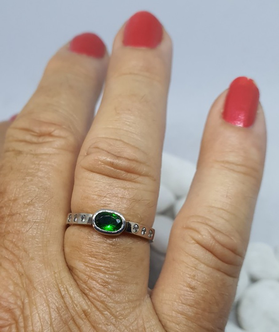 Gold and palladium ring with diamonds and imitation emerald image 3