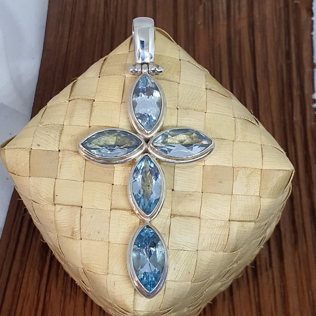Large sterling silver blue topaz cross pendant image 2