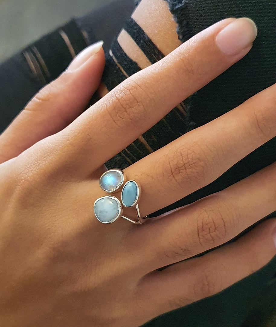Sterling silver larimar and moonstone ring image 1
