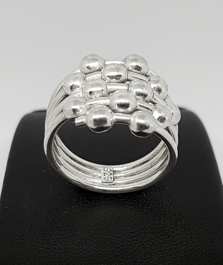 Sterling silver ring with silver spheres image 0