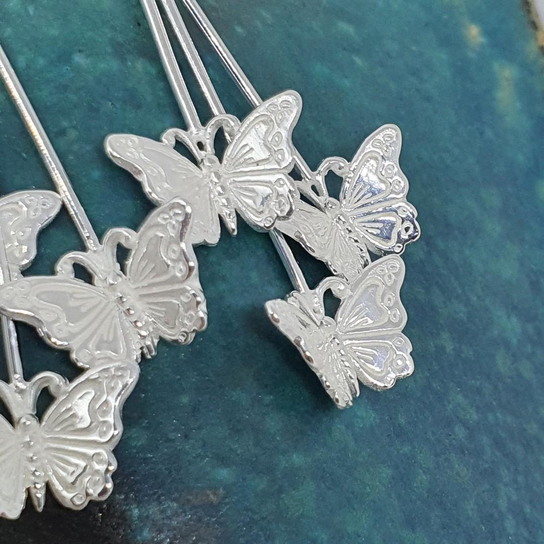 Sterling silver butterfly earrings image 1
