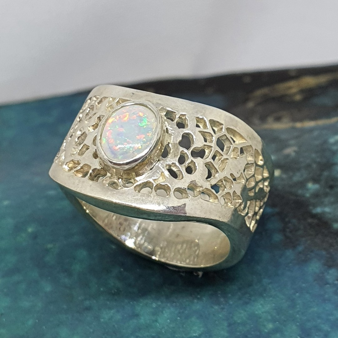 Sterling silver wide lace ring with opal image 1