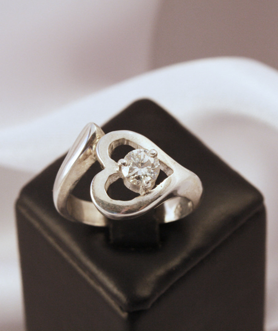 Heart Shaped Ring, Cubic Zirconia image 0