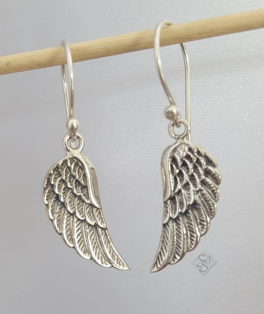 Sterling silver angel wing earrings image 1