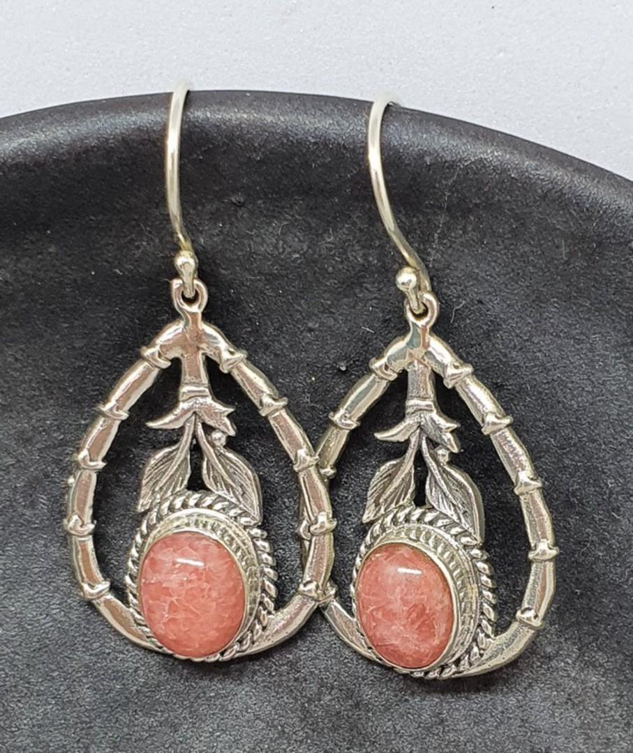 Sterling silver rhodochrosite gemstone eearrings image 1