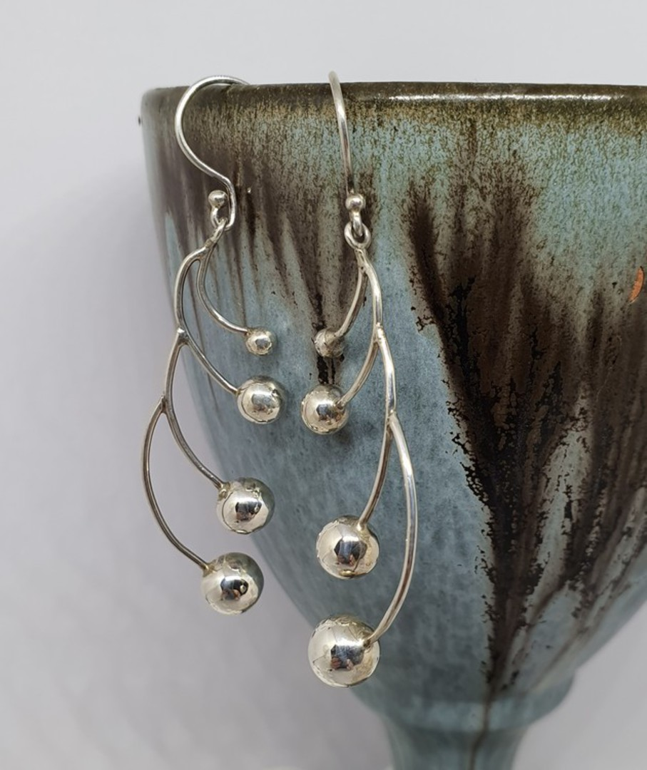 Long silver multi sphere earrings image 1