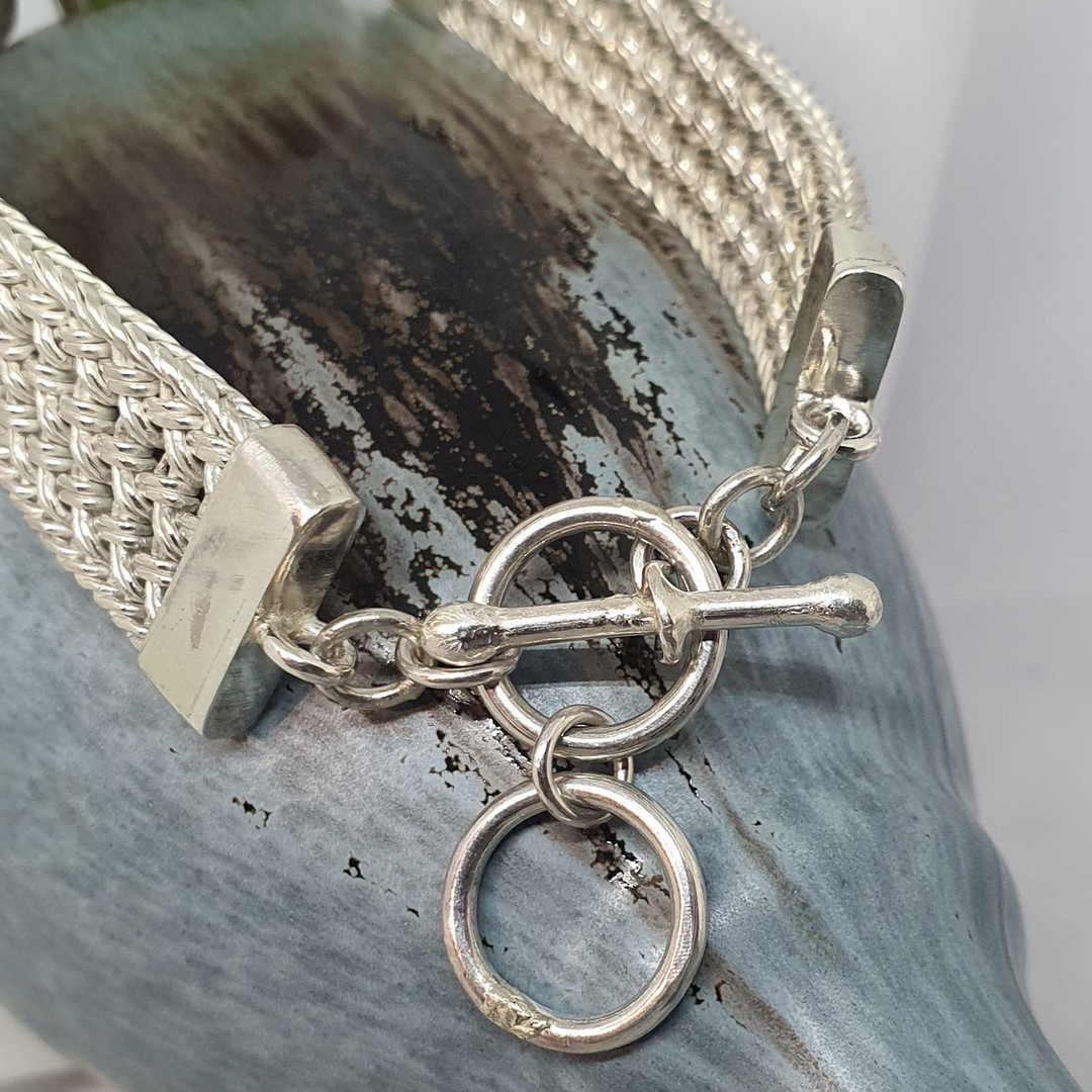 Made in New Zealand, silver greenstone bracelet image 1