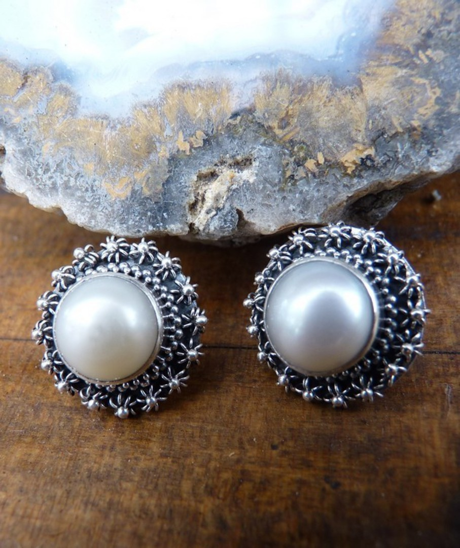 Large white pearl stud earrings with filigree silver frames image 1