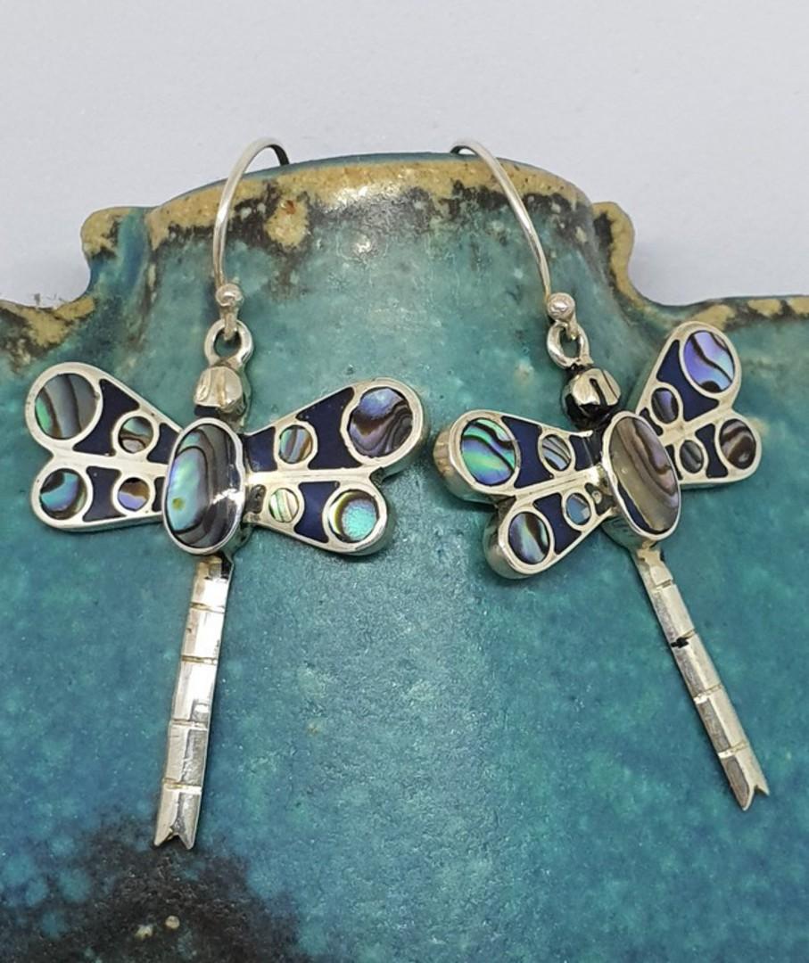 Inlay paua shell - dragonfly earrings image 0