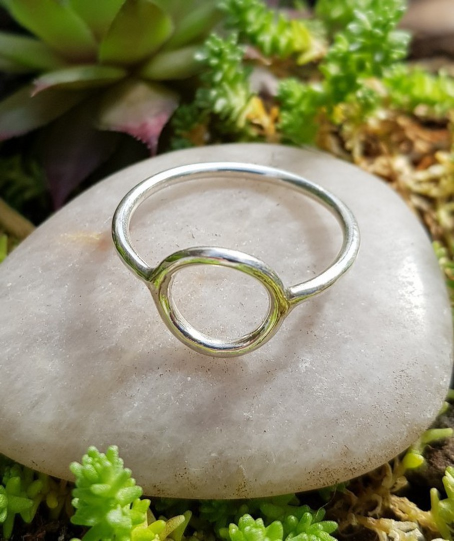 Sterling silver stacking ring with open circle image 2
