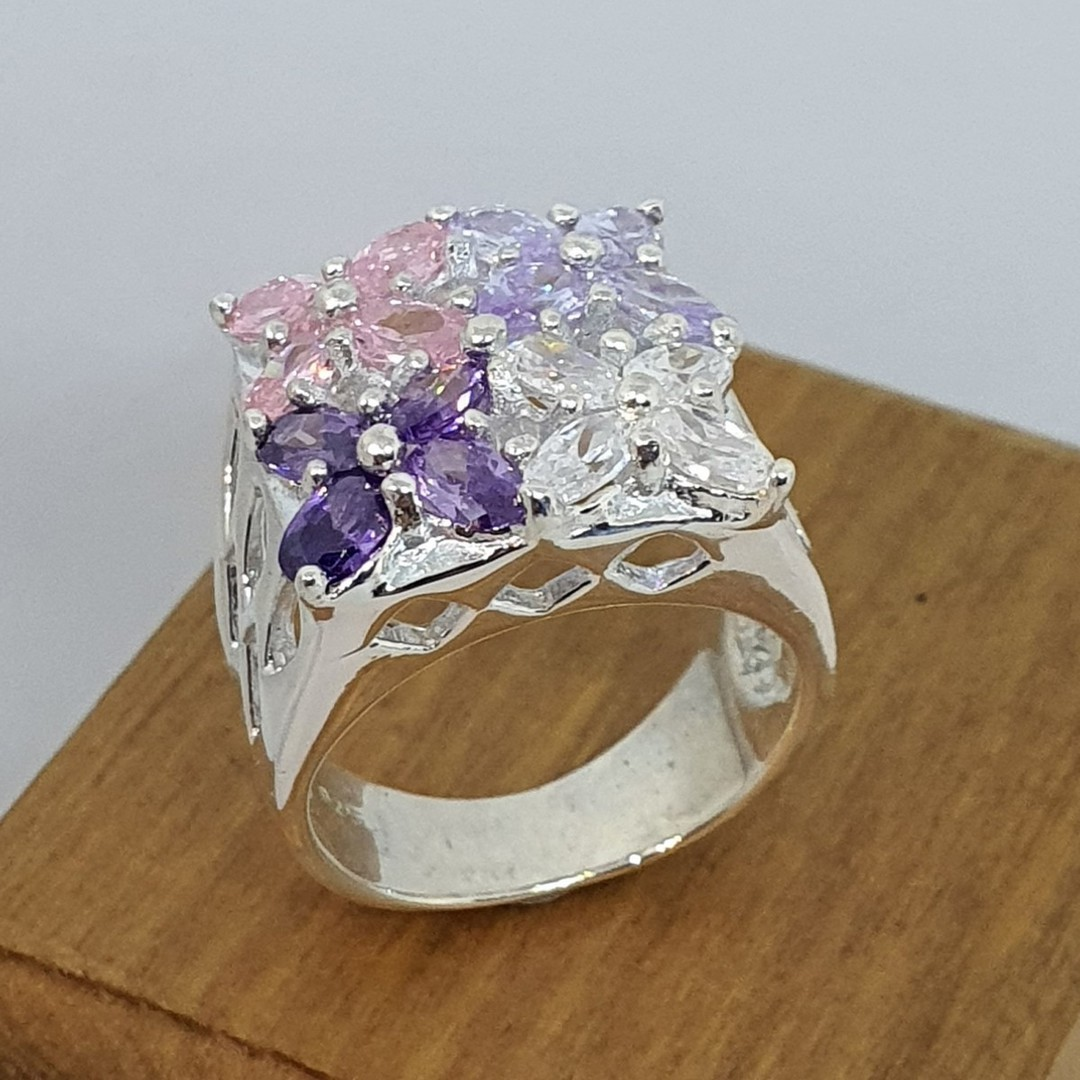 Flower dress ring with purple, pink and cz gems image 3