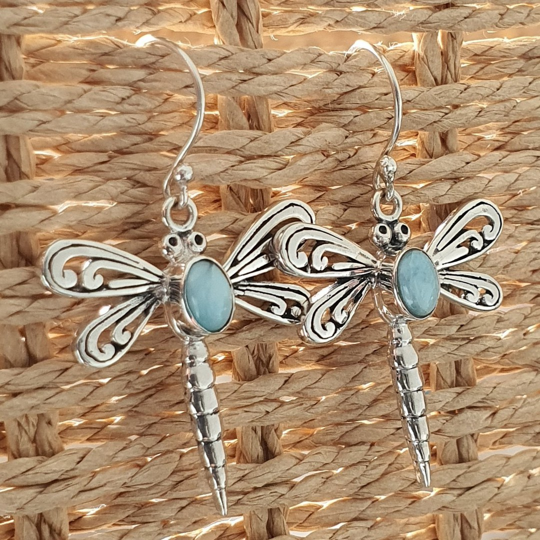 Silver dragonfly earrings with larimar gemstone image 1