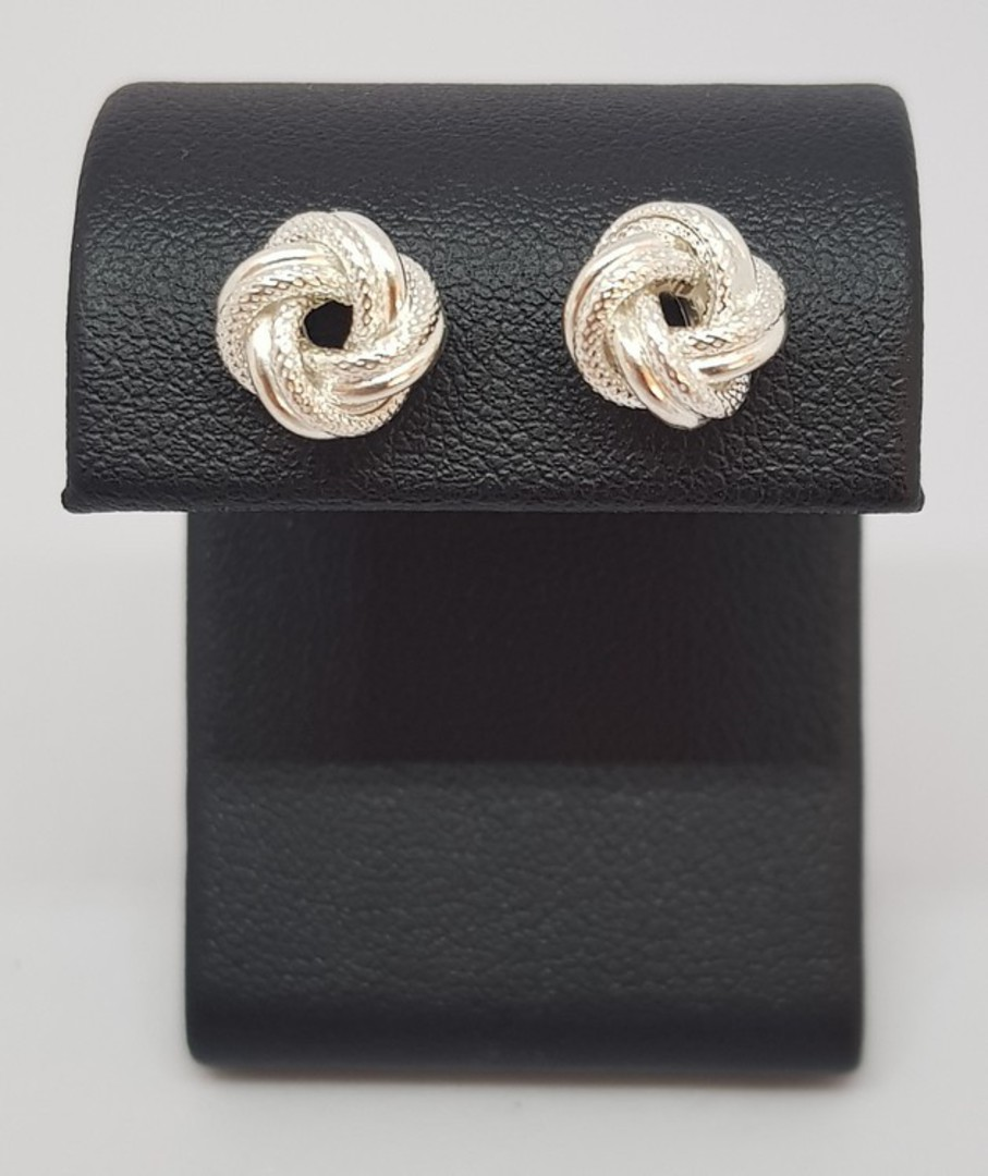 Silver knot stud earrings image 0