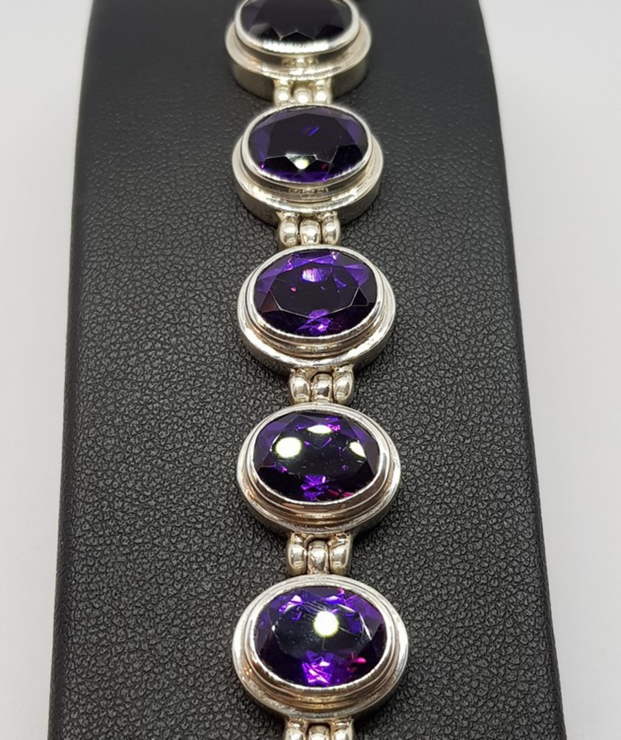 Silver Amethyst Bracelet image 2